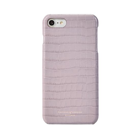 iPhone 7/8 Leather Cover in Deep Shine Lilac Small Croc from Aspinal of London