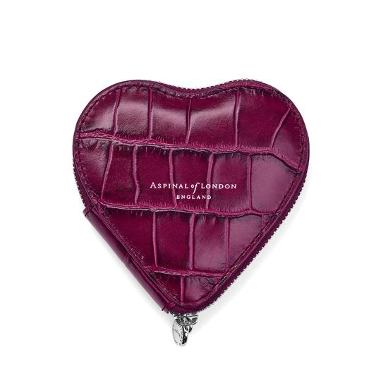 Heart Coin Purse in Purple Croc from Aspinal of London