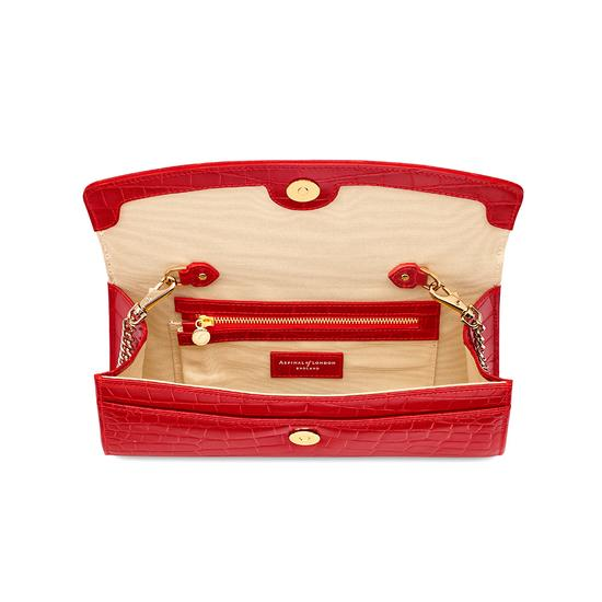 Eaton Clutch in Deep Shine Red Croc from Aspinal of London