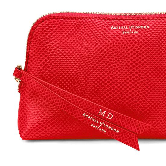 Small Essential Cosmetic Case in Berry Lizard from Aspinal of London