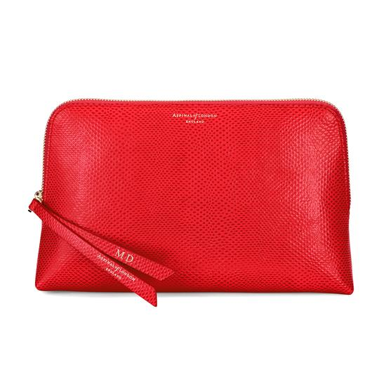 Large Essential Cosmetic Case in Berry Lizard from Aspinal of London
