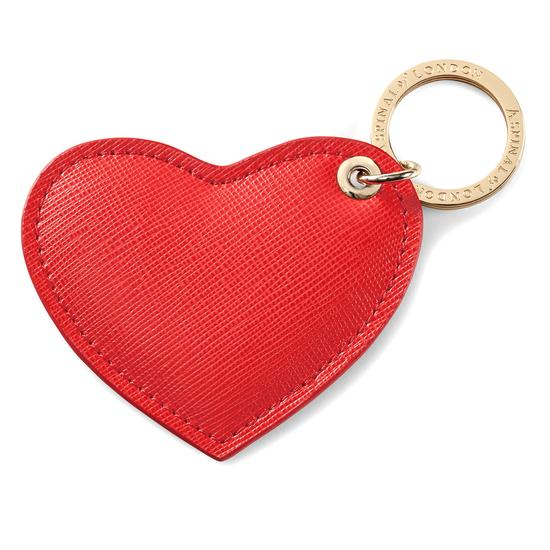 Heart Keyring in Dahlia Saffiano from Aspinal of London