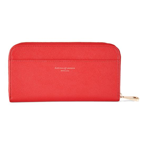 Continental Clutch Zip Wallet in Dahlia Saffiano from Aspinal of London