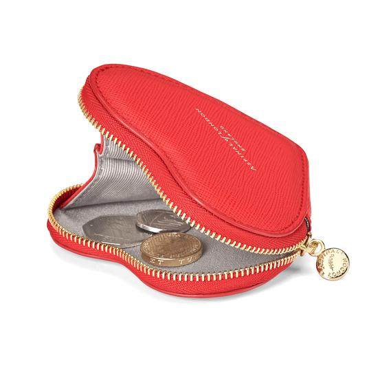 Heart Coin Purse in Dahlia Saffiano from Aspinal of London