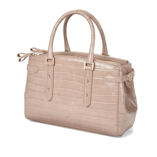Brook Street Bag in Deep Shine Soft Taupe Croc from Aspinal of London