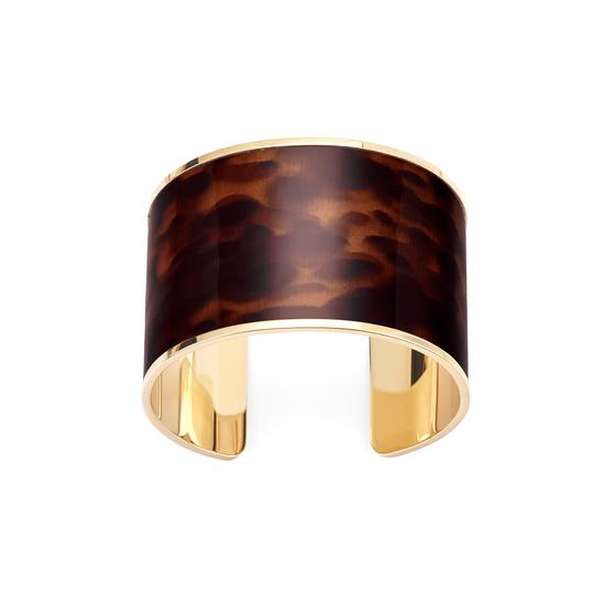 Cleopatra Cuff Bracelet in Deep Shine Tortoiseshell Patent from Aspinal of London