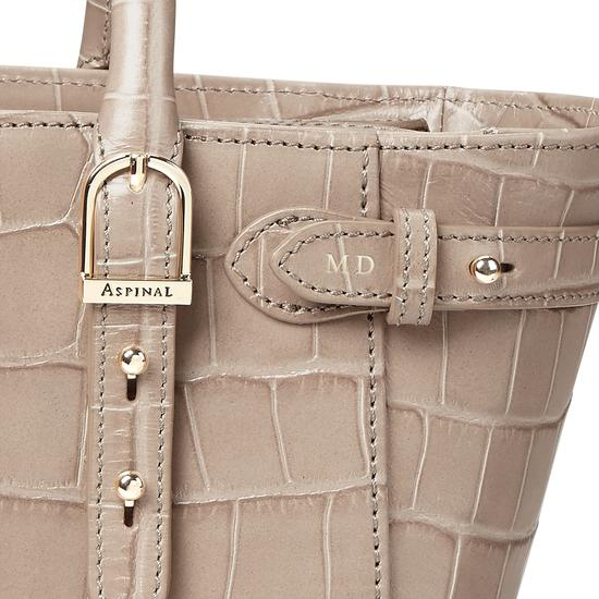 Mini Marylebone Tote in Deep Shine Soft Taupe Croc from Aspinal of London