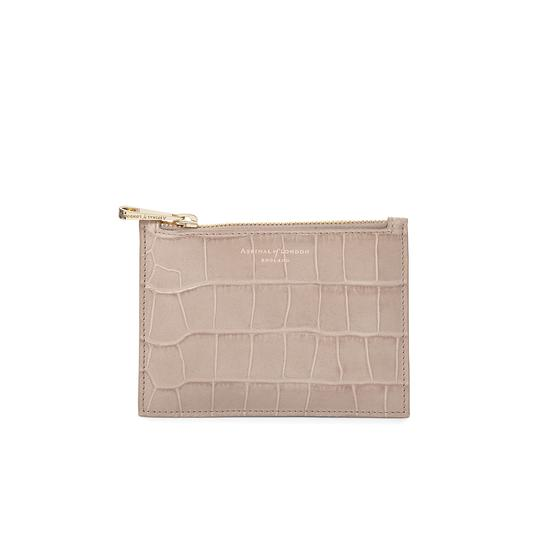 Small Essential Pouch in Deep Shine Soft Taupe Croc from Aspinal of London