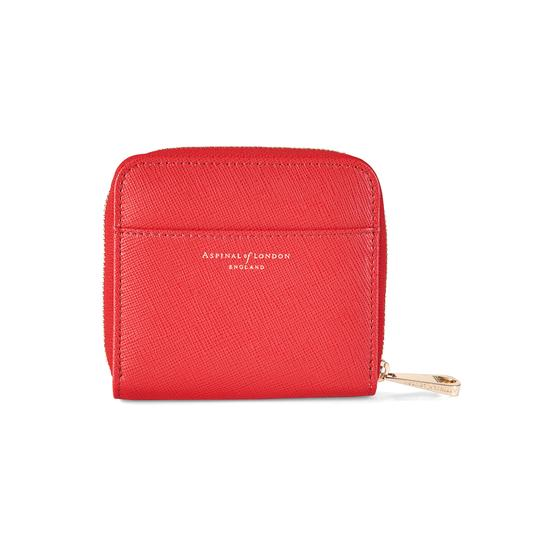 Mini Continental Zipped Coin Purse in Dahlia Saffiano from Aspinal of London