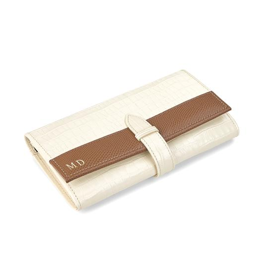 London Ladies Purse Wallet in Deep Shine Ivory Small Croc & Camel Lizard from Aspinal of London