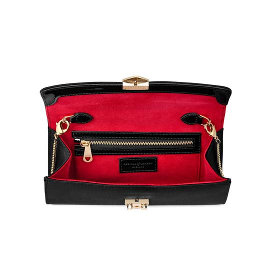 Mini Eaton Clutch in Black Satin from Aspinal of London