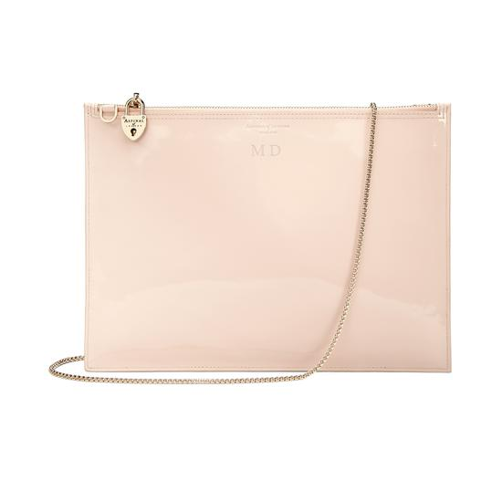 Soho Clutch in Deep Shine Nude Patent from Aspinal of London