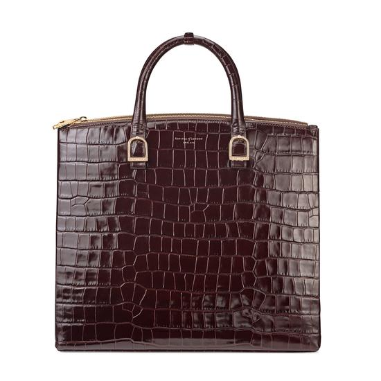Editor's Tote in Deep Shine Amazon Brown Croc from Aspinal of London