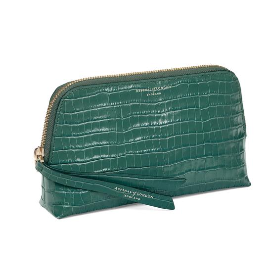Small Essential Cosmetic Case in Sage Small Croc from Aspinal of London