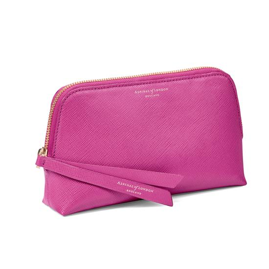 Small Essential Cosmetic Case in Orchid Saffiano from Aspinal of London