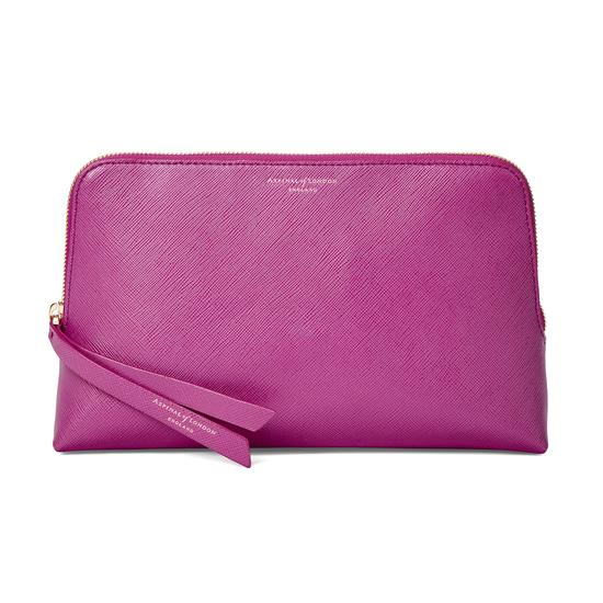 Large Essential Cosmetic Case in Orchid Saffiano from Aspinal of London