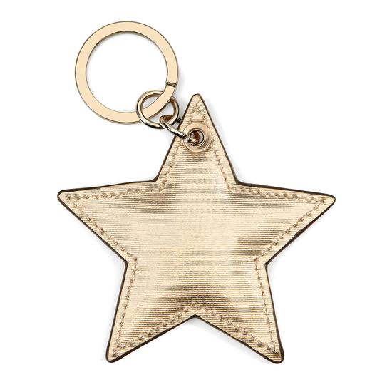 Star Keyring in Gold Moire Print from Aspinal of London