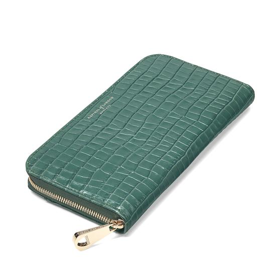 Continental Clutch Zip Wallet in Deep Shine Sage Small Croc from Aspinal of London
