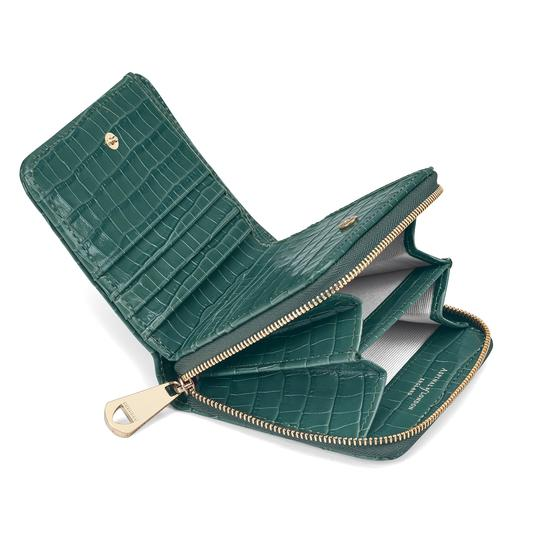 Mini Continental Zipped Coin Purse in Deep Shine Sage Small Croc from Aspinal of London
