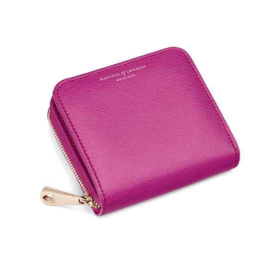 Mini Continental Zipped Coin Purse in Orchid Saffiano from Aspinal of London