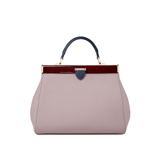 Small Florence Frame Bag in Lilac Pebble, Smooth Bluemoon & Cherry Patent from Aspinal of London