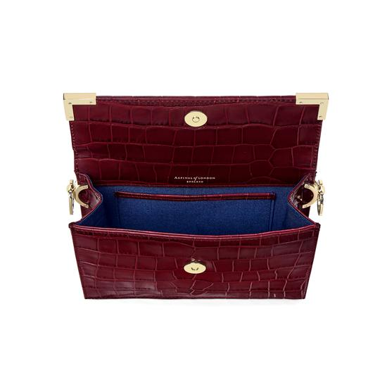 Chelsea Bag in Deep Shine Bordeaux Croc from Aspinal of London