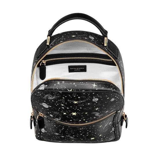 Constellation Backpack in Black Constellation Print from Aspinal of London