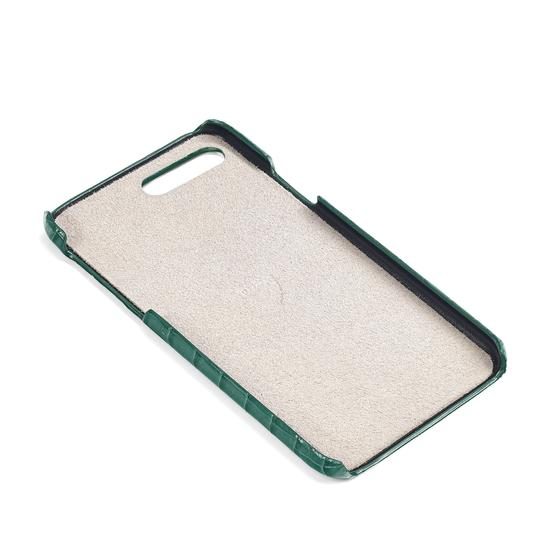 iPhone 7 Plus Leather Cover in Deep Shine Sage Small Croc from Aspinal of London