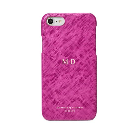 iPhone 7/8 Leather Cover in Orchid Saffiano from Aspinal of London