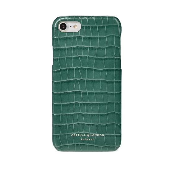 iPhone 7/8 Leather Cover in Deep Shine Sage Small Croc from Aspinal of London
