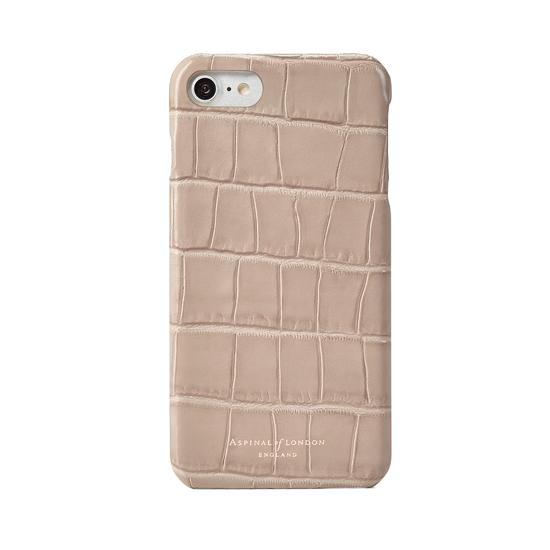 iPhone 7/8 Leather Cover in Deep Shine Soft Taupe Croc from Aspinal of London