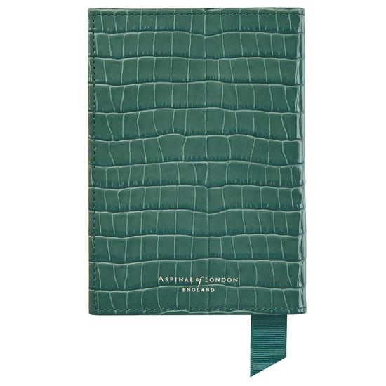 Passport Cover in Deep Shine Sage Small Croc from Aspinal of London