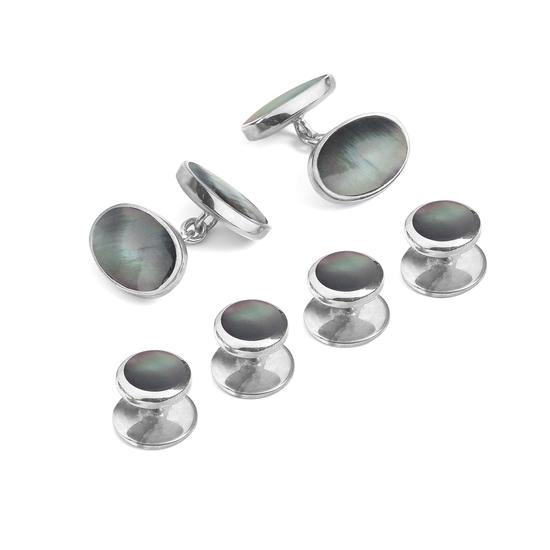 Sterling Silver Black Mother Of Pearl Oval Cufflinks Dress Shirt Studs Set From Aspinal