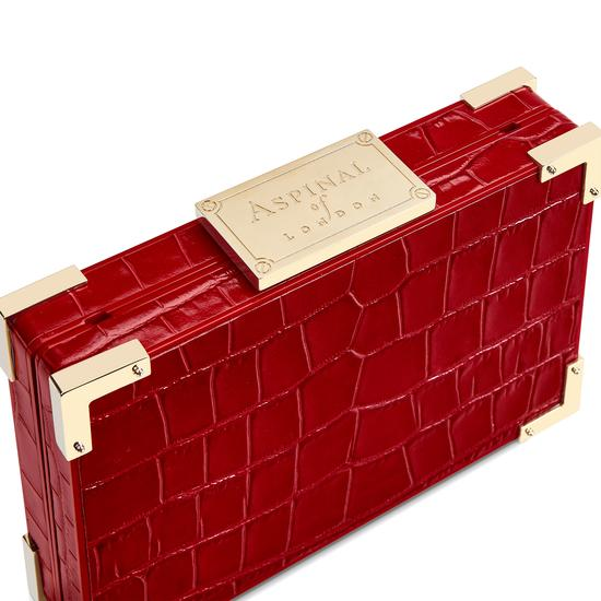 Scarlett Box Clutch in Deep Shine Red Croc from Aspinal of London