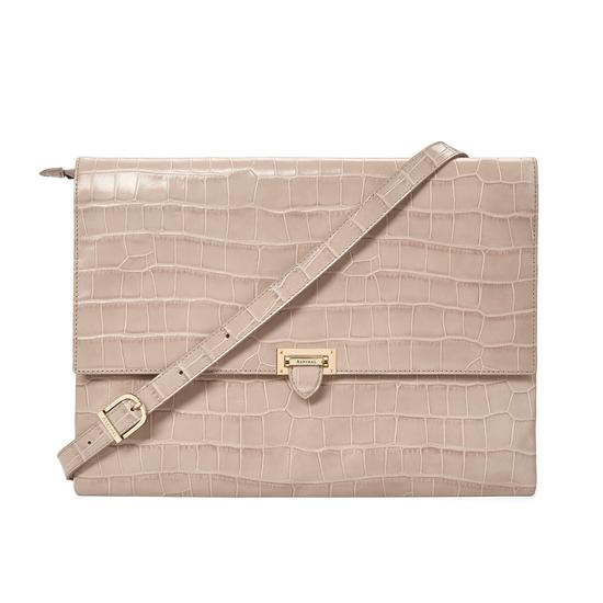 City Document Case in Deep Shine Soft Taupe Croc from Aspinal of London