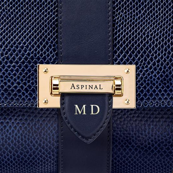 Large Lottie Bag in Midnight Blue Lizard from Aspinal of London