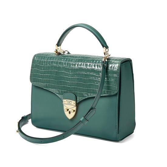 Mayfair Bag in Deep Shine Sage Small Croc from Aspinal of London