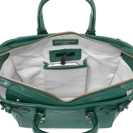 Mini Marylebone Tote in Deep Shine Sage Small Croc from Aspinal of London