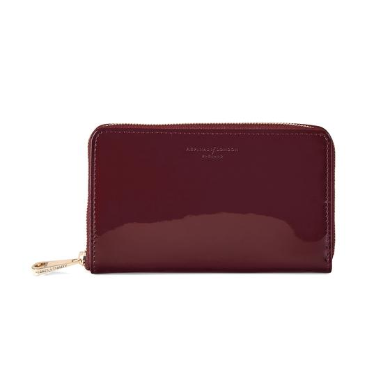 Midi Continental Clutch Zip Wallet in Deep Shine Cherry Patent from Aspinal of London