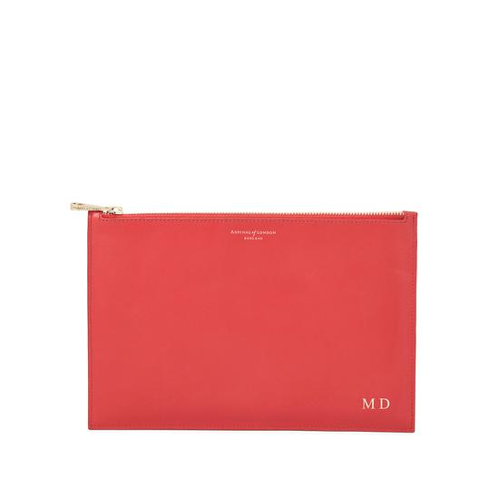 Large Essential Flat Pouch in Smooth Dahlia & Dahlia Saffiano from Aspinal of London