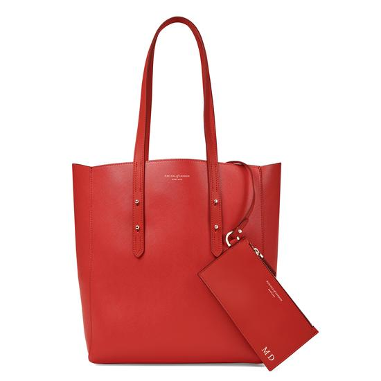 Essential Tote in Scarlet Saffiano & Navy Suede from Aspinal of London