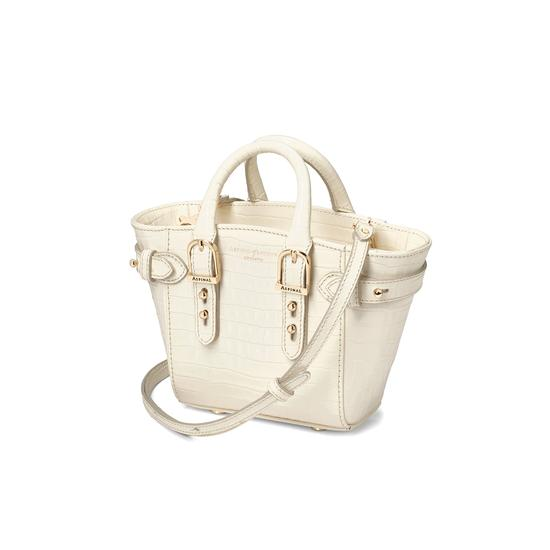 Micro Marylebone Tote Deep Shine Ivory Small Croc from Aspinal of London