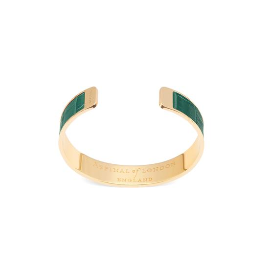 Cleopatra Skinny Cuff Bracelet in Deep Shine Sage Small Croc from Aspinal of London