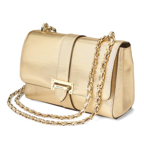 Small Lottie Bag in Gold Moire Print from Aspinal of London