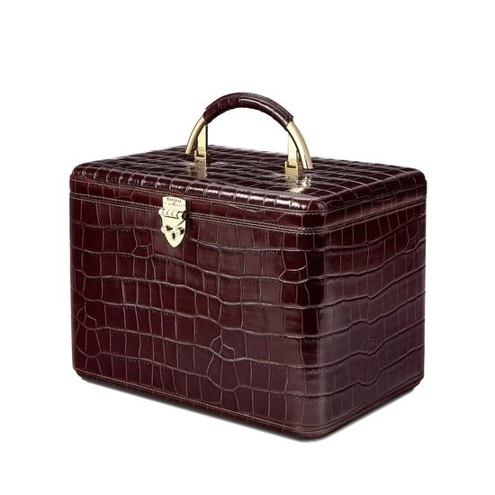 Aspinal Vanity Case in Deep Shine Amazon Brown Croc from Aspinal of London