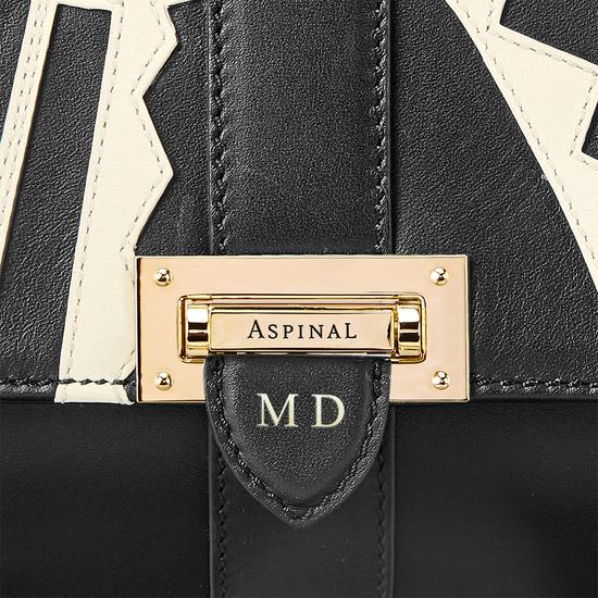 Small Lottie Bag in Ivory Deco Applique & Smooth Black from Aspinal of London
