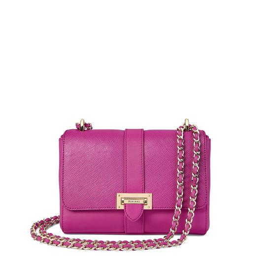 Small Lottie Bag in Orchid Saffiano from Aspinal of London