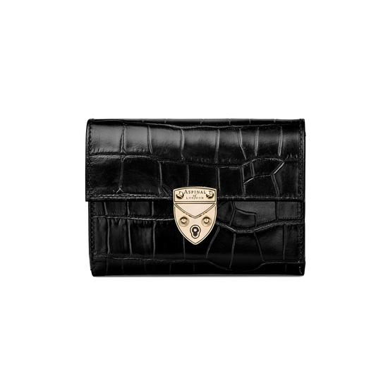 Small Mayfair Purse in Deep Shine Black Croc from Aspinal of London