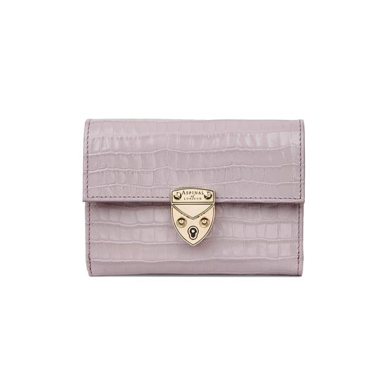 Small Mayfair Purse in Deep Shine Lilac Small Croc from Aspinal of London