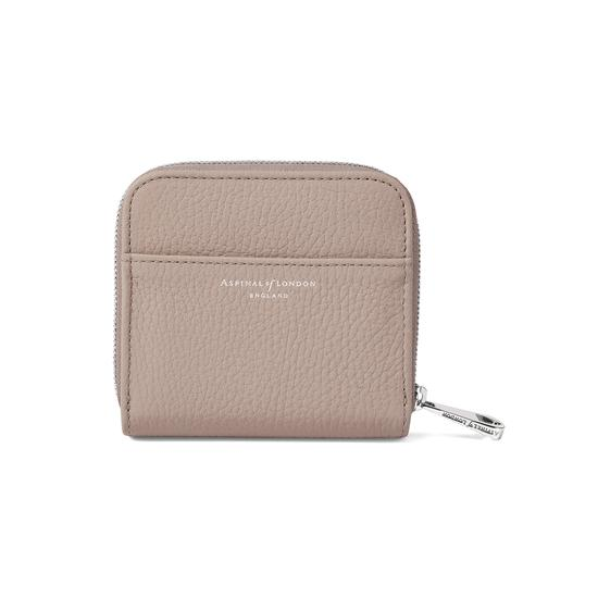 Mini Continental Zipped Coin Purse in Soft Taupe Pebble from Aspinal of London